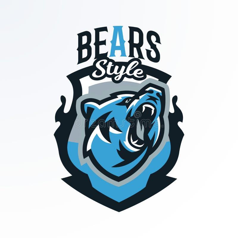 Emblema colorido, insignia, registro de un oso el gruñir Depredador peligroso, un animal del bosque, imprimiendo en las camisetas fotos de archivo libres de regalías