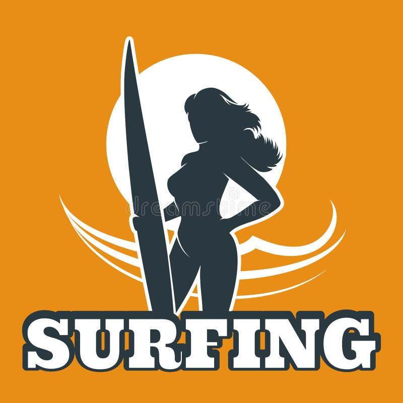 Emblema colorido que practica surf stock de ilustración