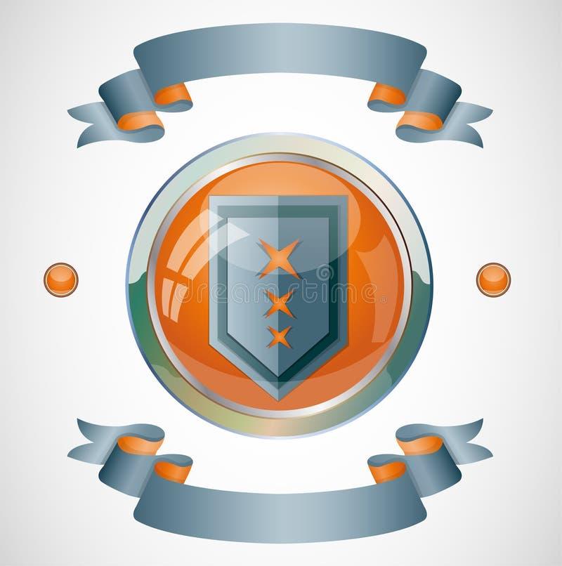 Emblema com fitas ilustração do vetor