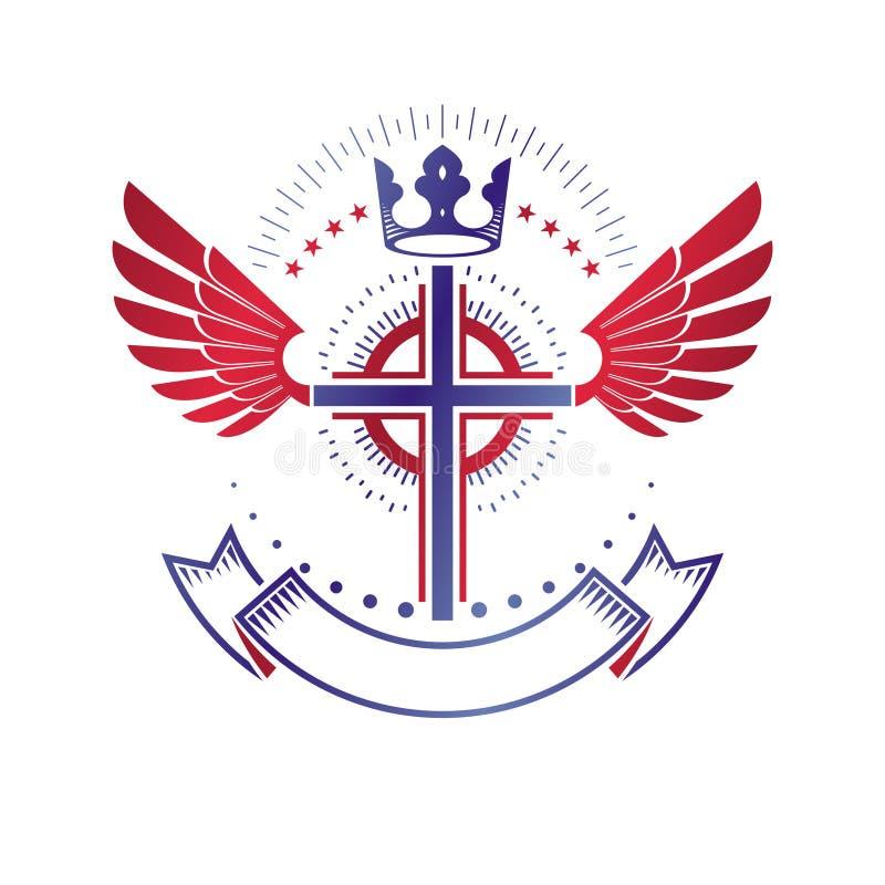 Emblema con alas de Christian Cross compuesto con la corona y el luxu reales stock de ilustración