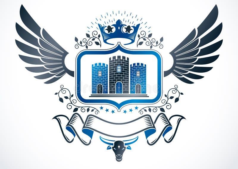 Emblema con alas vintage creado en diseño heráldico del vector y los comp libre illustration
