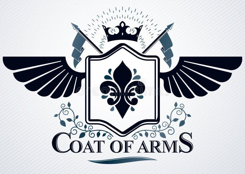 Emblema con clase hecho con la decoración de las alas del águila, símbolo de la corona del monarca stock de ilustración