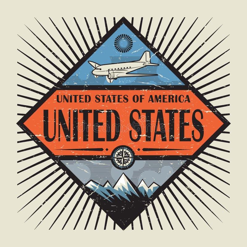 Emblema con el aeroplano, compás, montañas Estados Unidos libre illustration