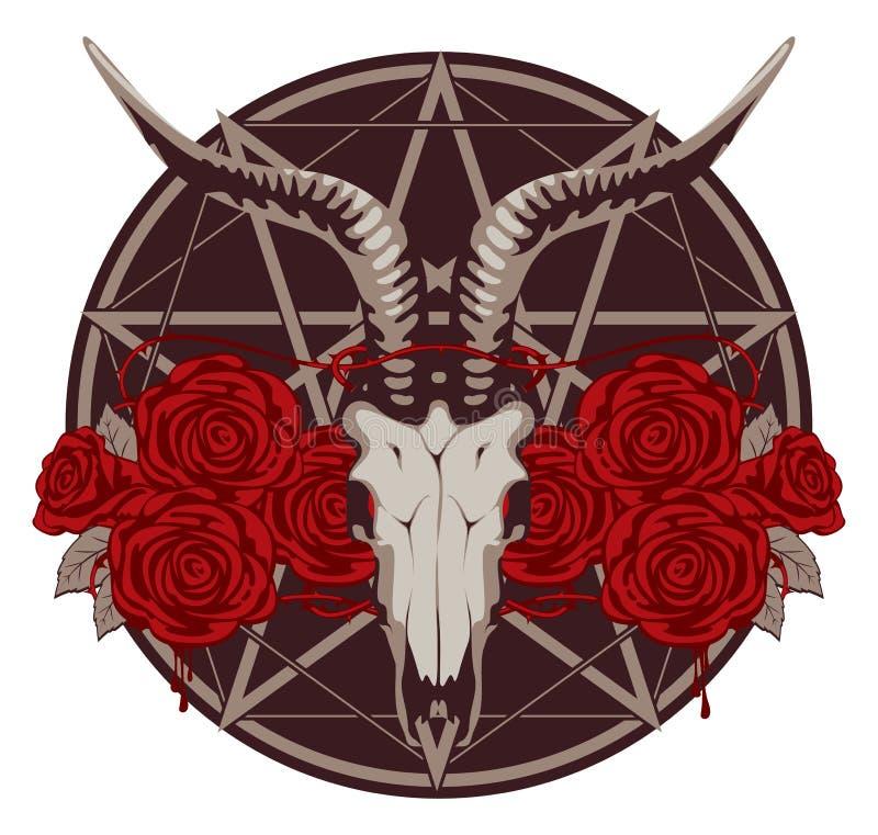 Emblema con el cráneo de la cabra ilustración del vector