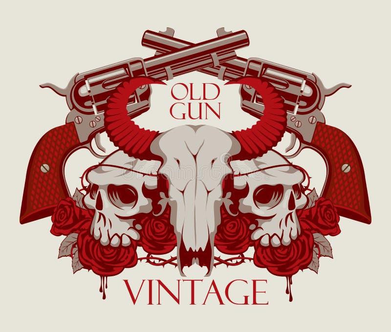 Emblema con el cráneo de la vaca y humano, de rosas y de armas libre illustration