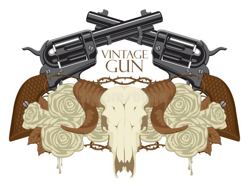 Emblema con el cráneo de ovejas, de rosas y de pistolas ilustración del vector