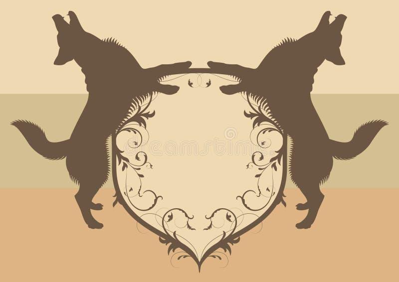 Emblema con i cani royalty illustrazione gratis