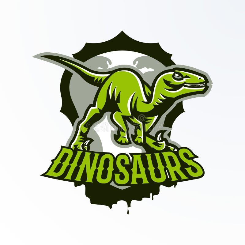 Emblema, crachá, etiqueta, logotipo do dinossauro na caça Predador jurássico, um animal perigoso, um animal extinto, uma mascote fotografia de stock royalty free