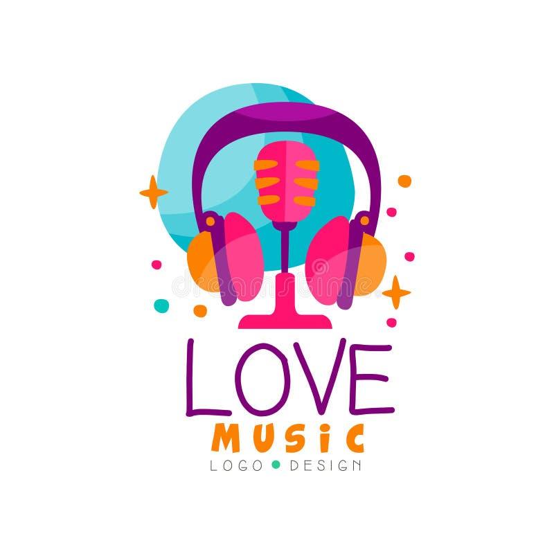 Emblema creativo del vector con los auriculares y el micrófono retro Logotipo para la estación de radio de la música, el estudio  ilustración del vector