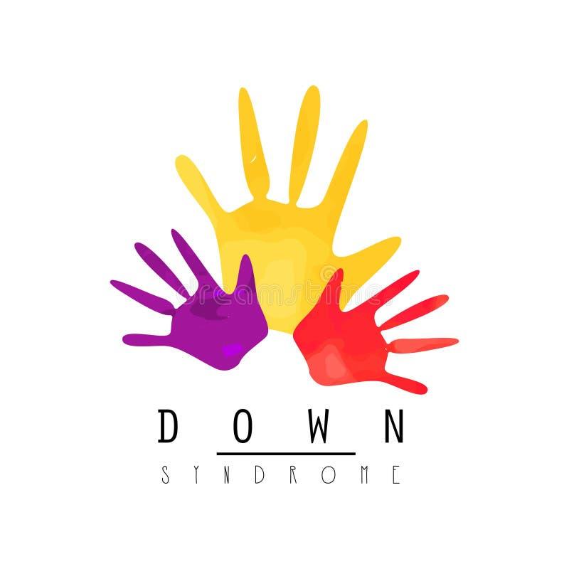 Emblema criativo com mãos coloridas Tema desenvolvente da inabilidade e do autismo Logotipo do vetor para Síndrome de Down médica ilustração stock