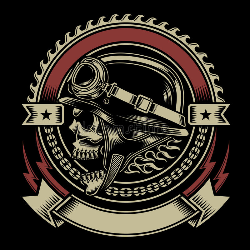 Emblema d'annata del cranio del motociclista royalty illustrazione gratis