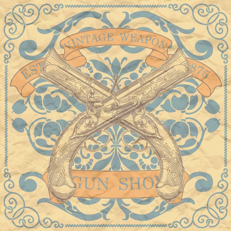 Emblema d'annata del negozio dell'arma illustrazione vettoriale