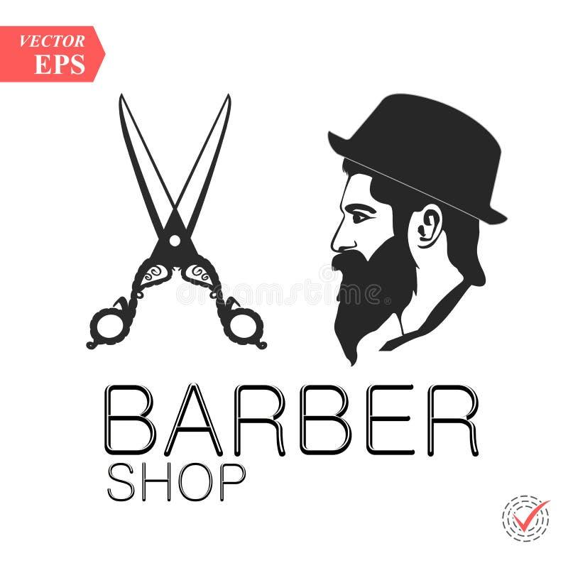 Emblema d'annata del negozio di barbiere, etichetta, distintivo, logo Uomo con la barba, pantaloni a vita bassa Illustrazione di  illustrazione vettoriale
