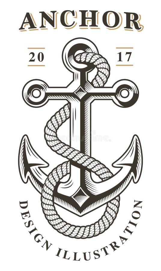 Emblema d'annata dell'ancora royalty illustrazione gratis