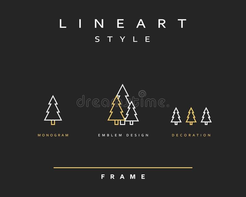 Emblema da árvore no estilo linear ilustração stock