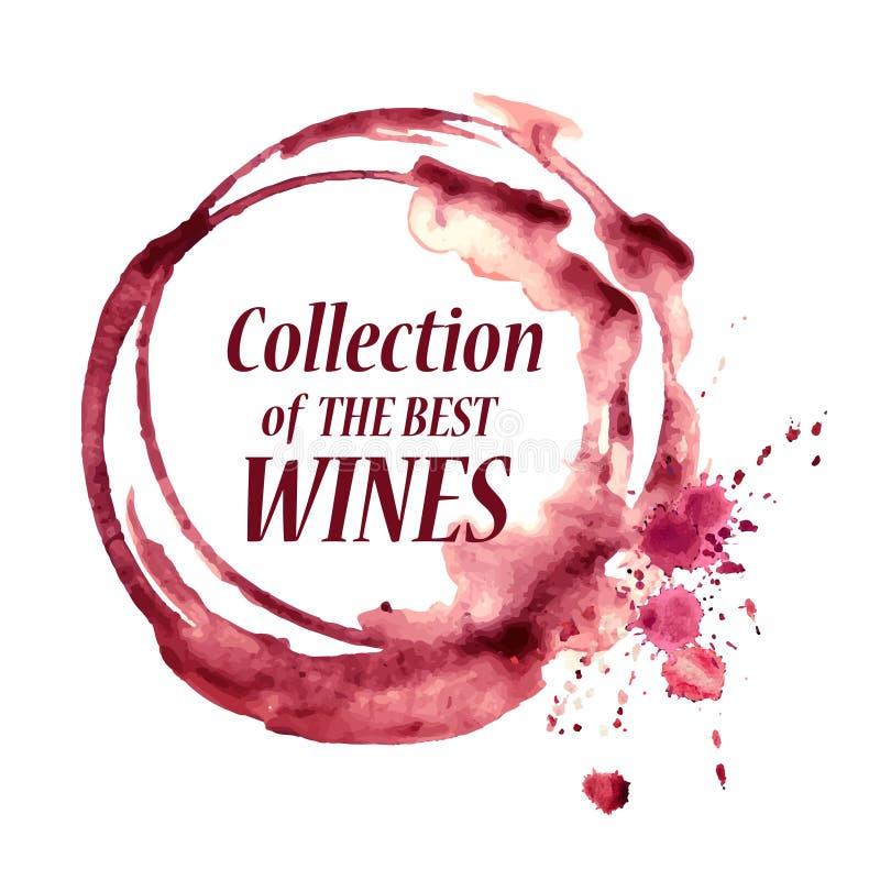 Emblema da aquarela com mancha do vinho ilustração royalty free