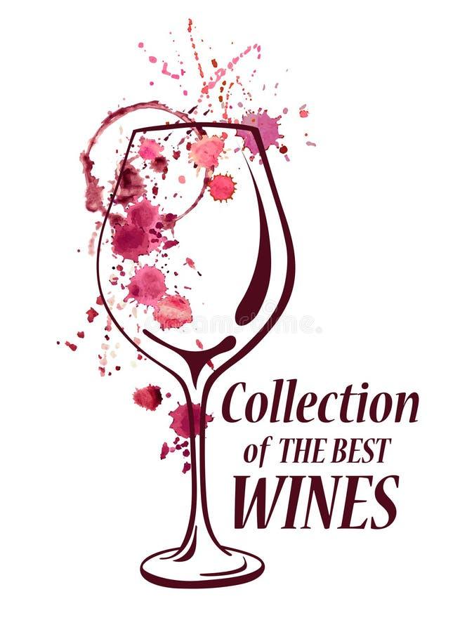 Emblema da aquarela com vidro de vinho ilustração royalty free