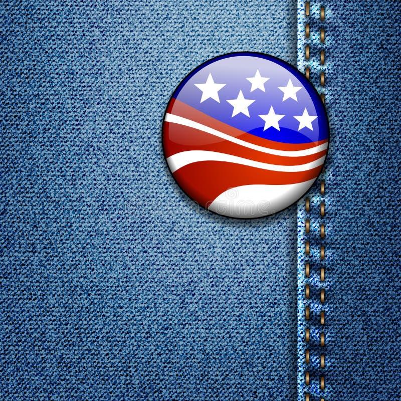 Emblema da bandeira americana na sarja de Nimes das calças de brim ilustração stock