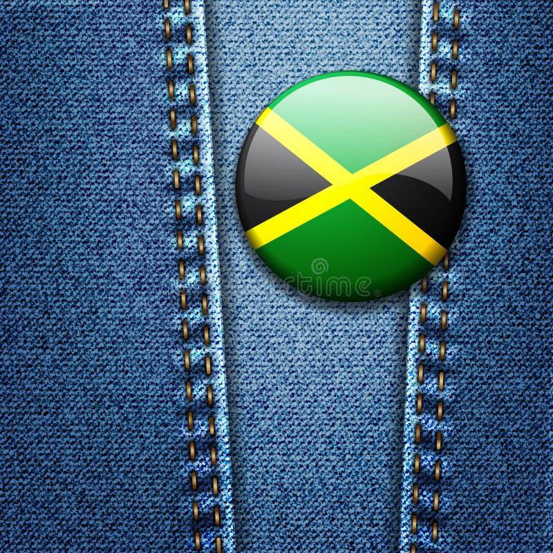 Emblema da bandeira de Jamaica na textura da sarja de Nimes das calças de brim ilustração do vetor