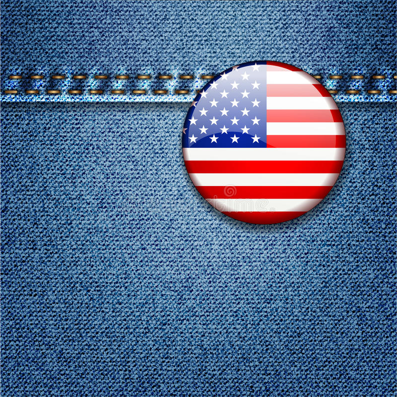 Emblema da bandeira dos EUA na tela da sarja de Nimes das calças de brim   ilustração stock