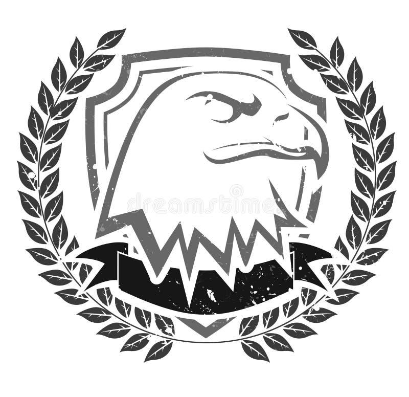 Emblema da cabeça da águia do Grunge ilustração do vetor