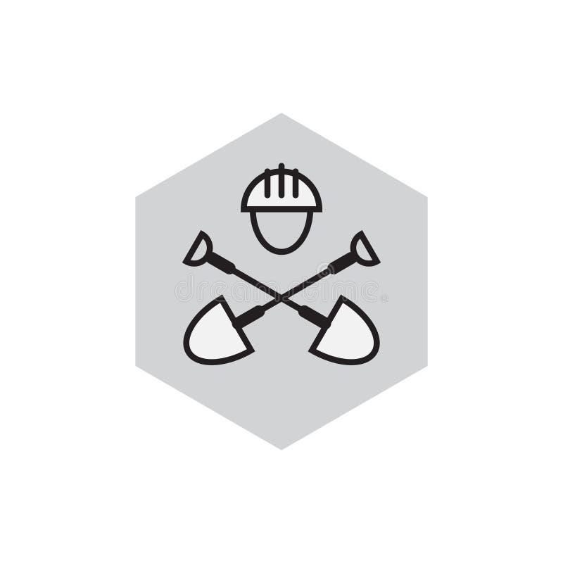 Emblema da engenharia civil Ícone do escavador Etiqueta com pás e ha ilustração stock