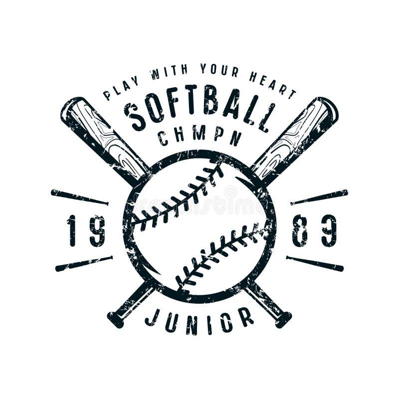 Emblema da equipe do júnior do softball ilustração royalty free