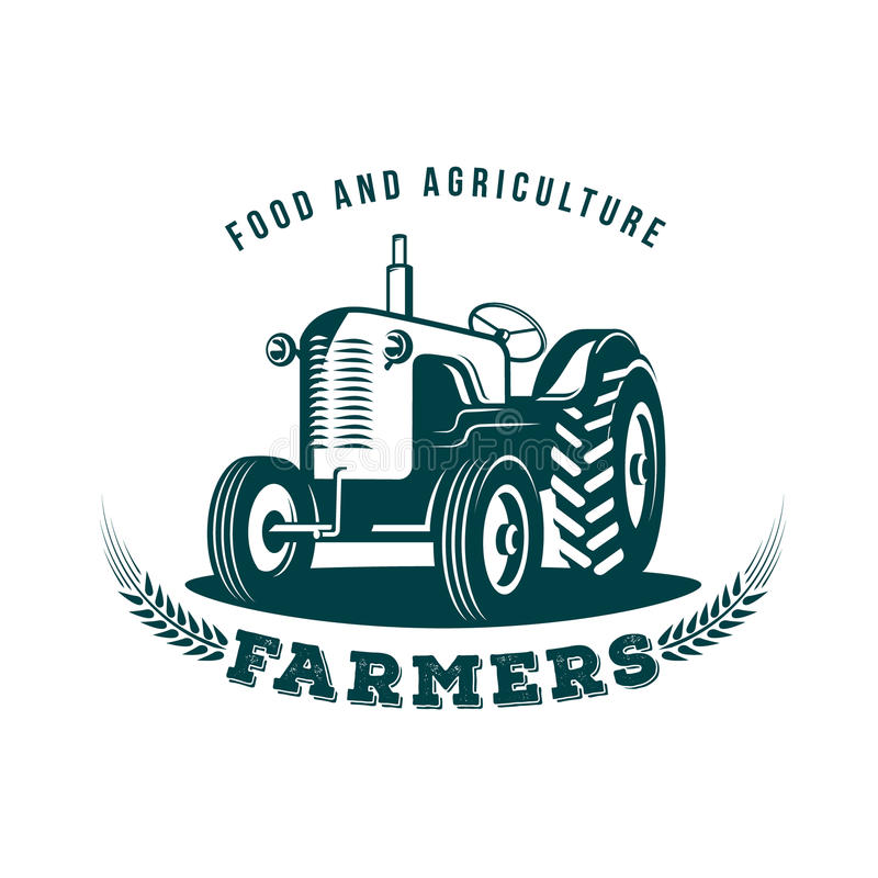 Emblema da exploração agrícola do trator ilustração do vetor