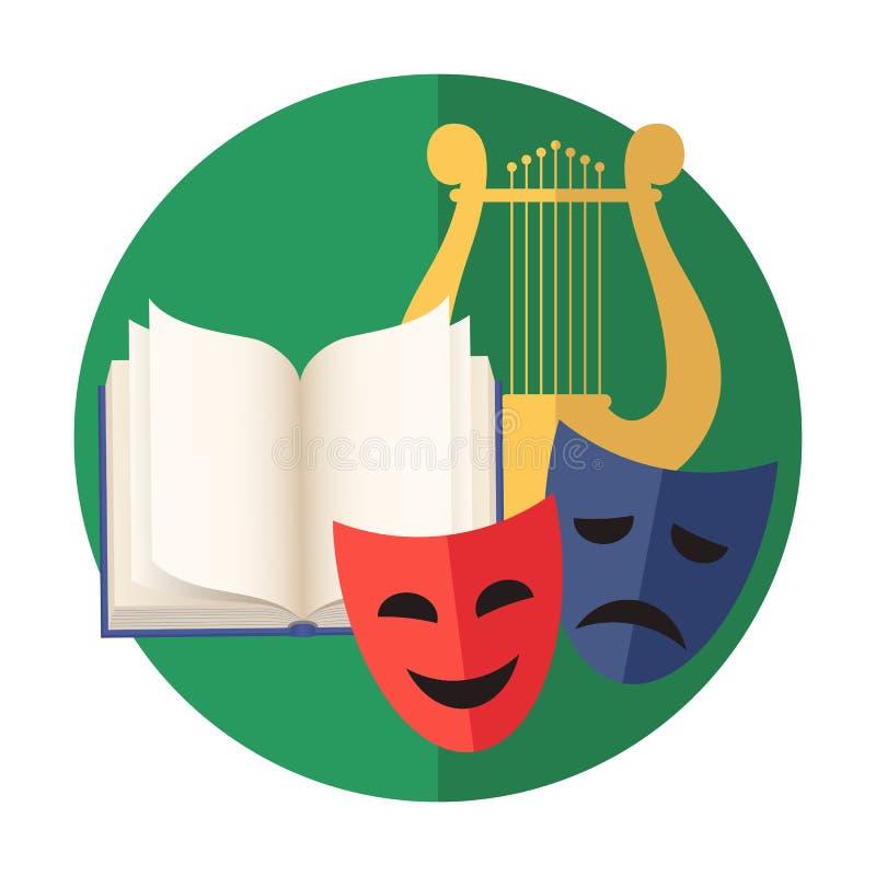 Emblema da faculdade criadora ou da arte: literatura, poesia, música, atuando ilustração do vetor