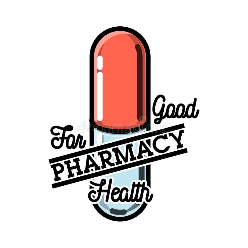 Emblema da farmácia do vintage da cor ilustração royalty free