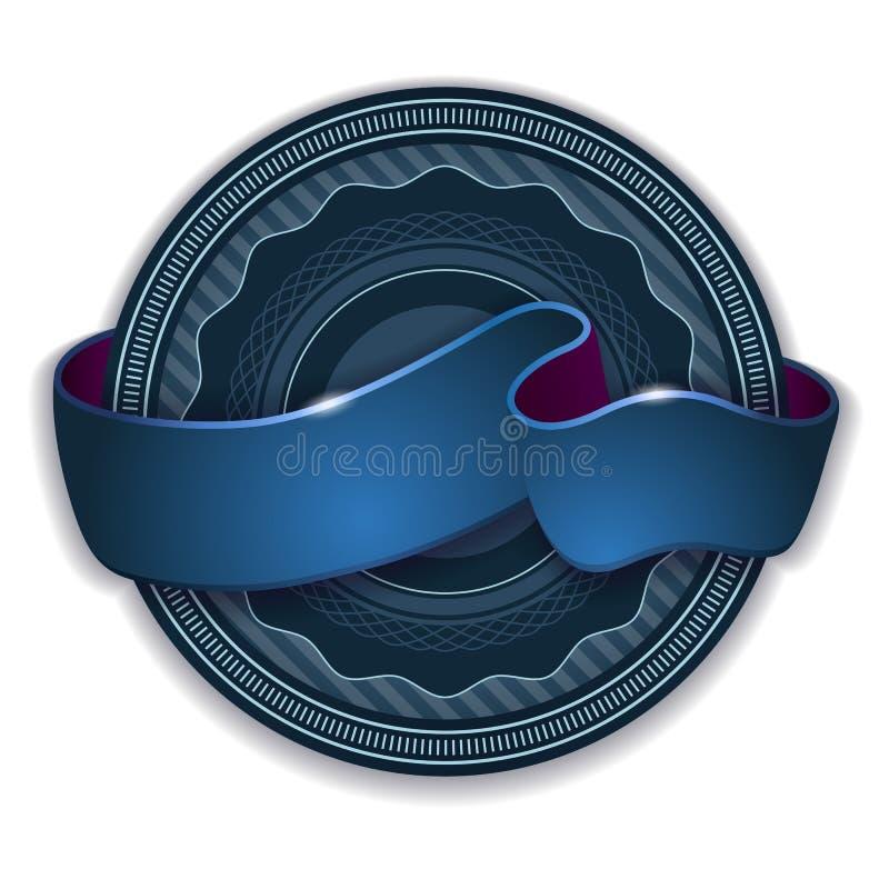 Emblema da fita azul ilustração do vetor