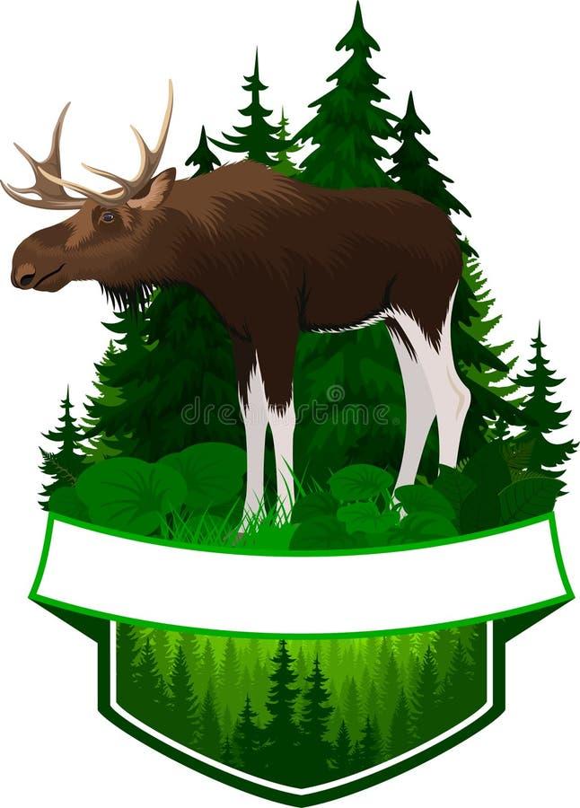 Emblema da floresta do vetor com touro dos alces ilustração stock