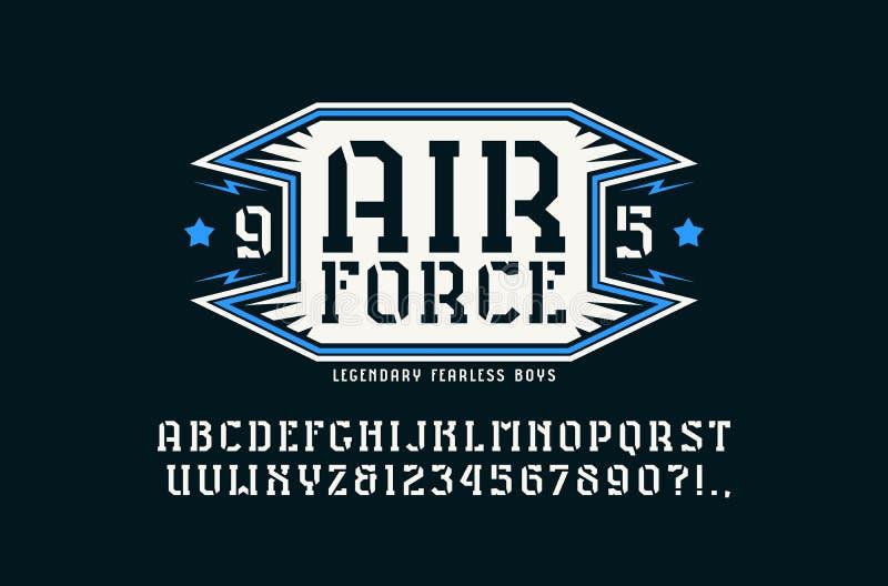 emblema da fonte e da força aérea do serif da Estêncil-placa ilustração do vetor