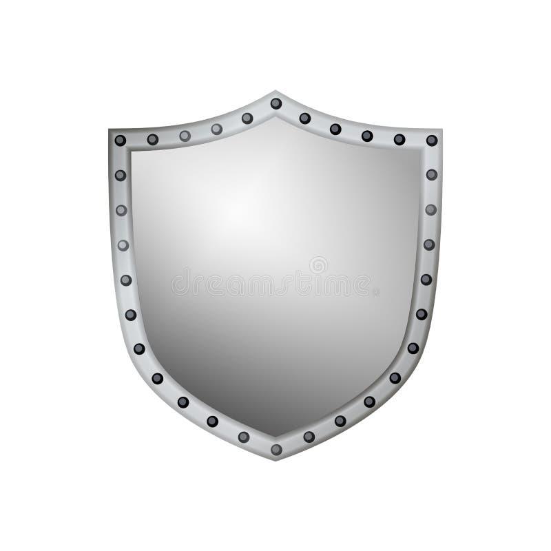 Emblema da forma do ícone do cinza de prata do protetor ilustração royalty free
