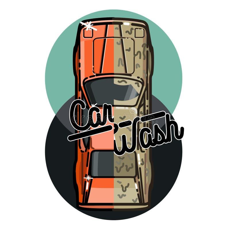 Emblema da lavagem de carros do vintage da cor ilustração do vetor