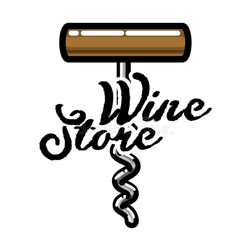 Emblema da loja de vinhos do vintage da cor ilustração royalty free