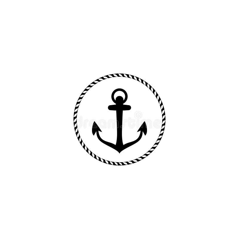 Emblema da ?ncora com quadro circular da corda Projeto do estilo do iate Sinal n?utico, s?mbolo ?cone universal Logotype simples ilustração stock
