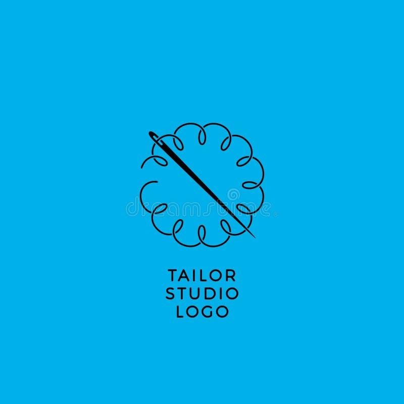 Emblema da oficina da costura O alfaiate do logotipo A agulha e a corda, como uma flor, ondas ilustração stock