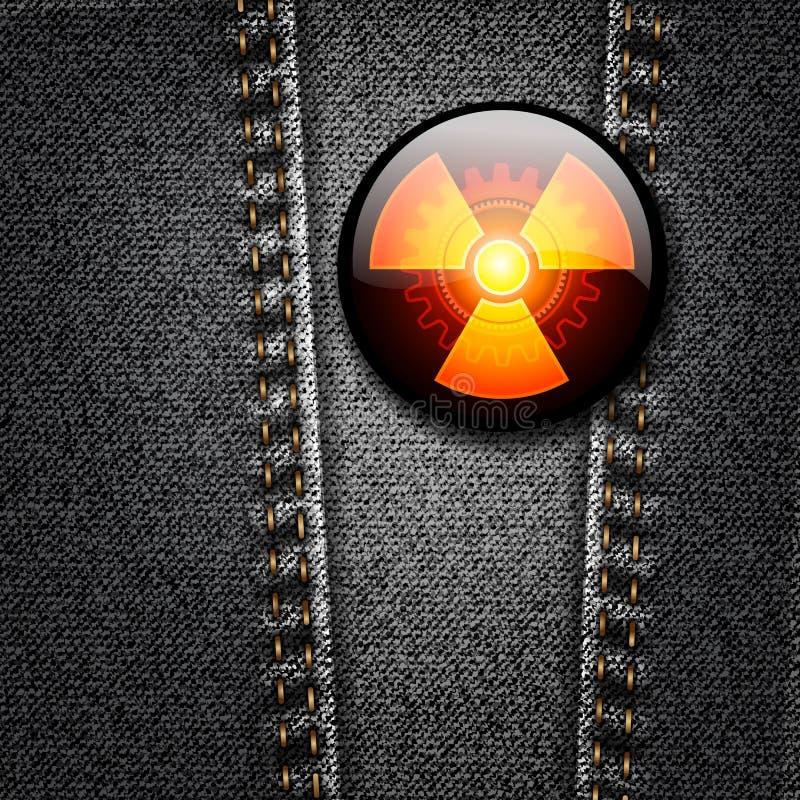 Emblema da radioactividade na textura preta da sarja de Nimes ilustração royalty free