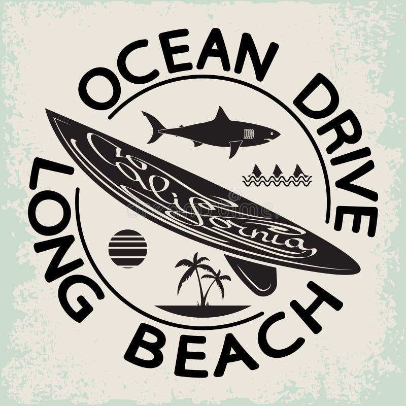 Emblema da tipografia do desgaste da ressaca de Califórnia Projeto gráfico surfando do t-shirt selo da cópia dos surfistas ilustração stock