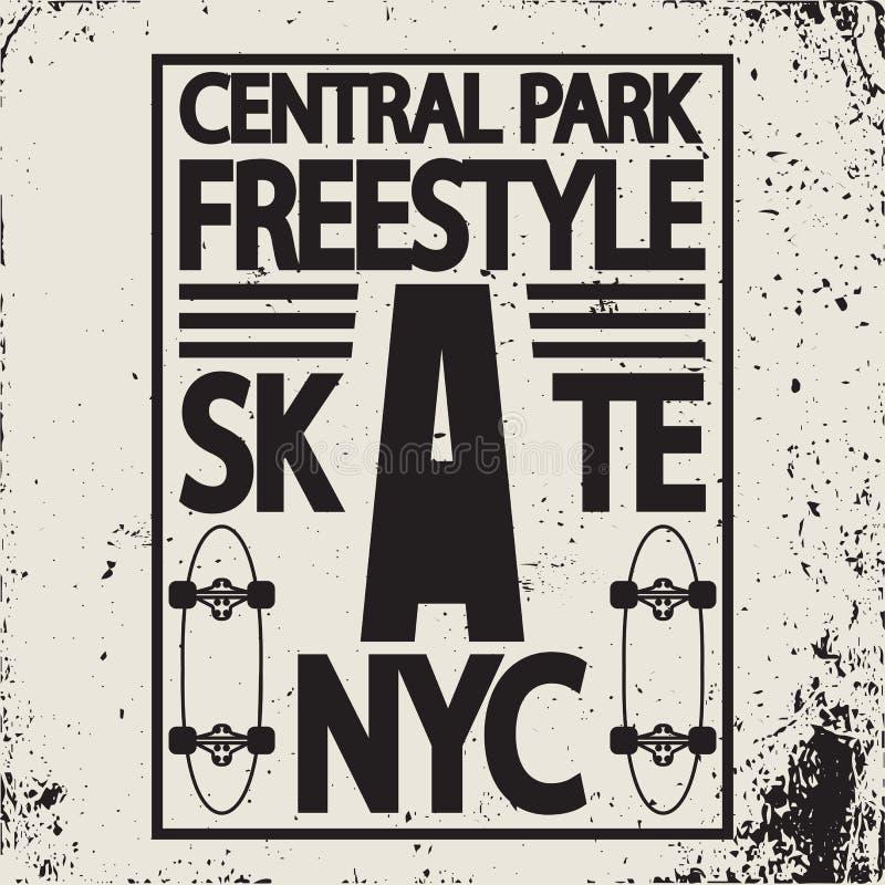 Emblema da tipografia da placa do patim de New York City do estilo livre ilustração do vetor