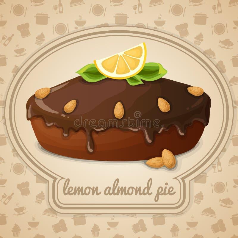 Emblema da torta da amêndoa do limão ilustração do vetor