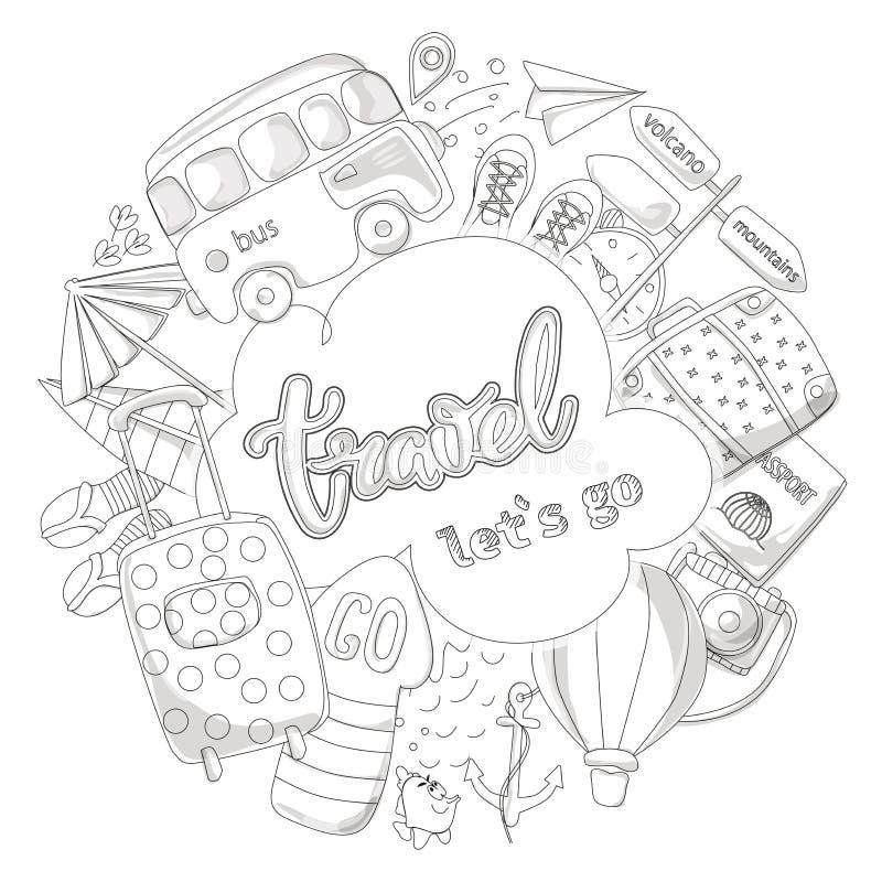 Emblema de artigos da aventura ou da viagem de negócios Objetos da bagagem do turista e do passageiro para anunciar, Web site, ba ilustração stock
