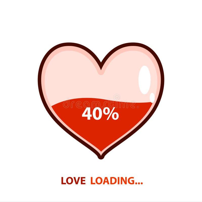 Emblema de carregamento do amor Carga do coração Projeto da ilustra??o do vetor ilustração do vetor