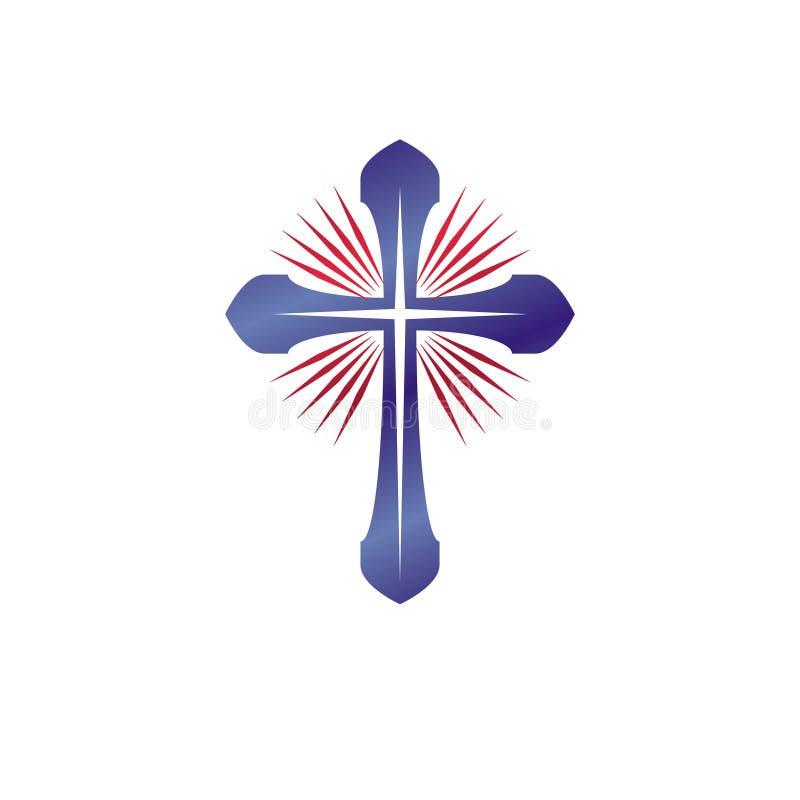 Emblema de Christian Cross El logotipo decorativo del escudo de armas heráldico es stock de ilustración