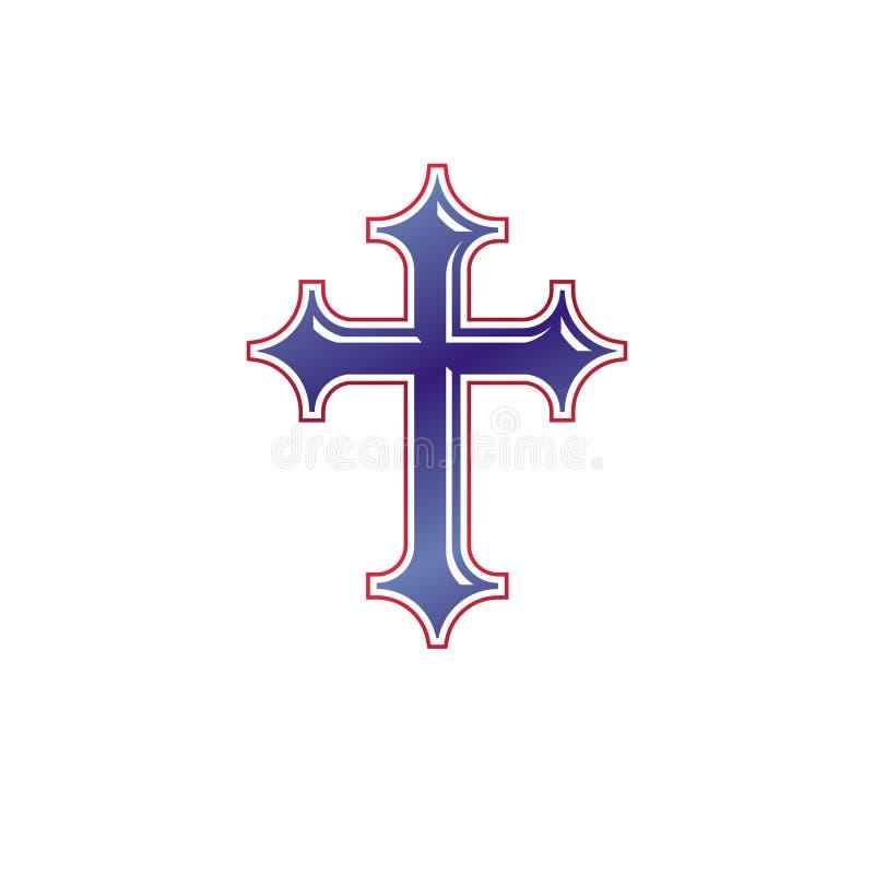 Emblema de Christian Cross O logotipo decorativo da brasão heráldica é ilustração stock