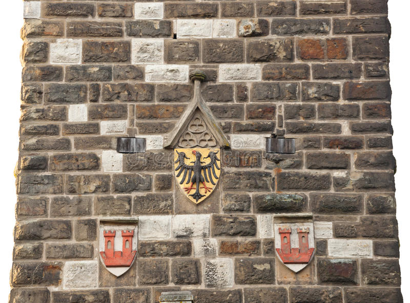 Emblema de Eagles en la pared en el der Tauber de Rothenburg od imagenes de archivo