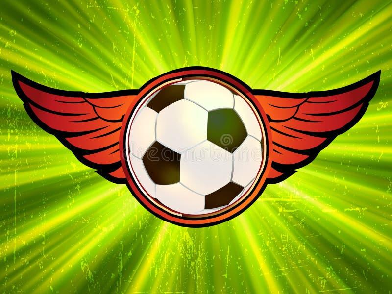 Emblema de Grunge, esfera de futebol voada. EPS 8 ilustração do vetor