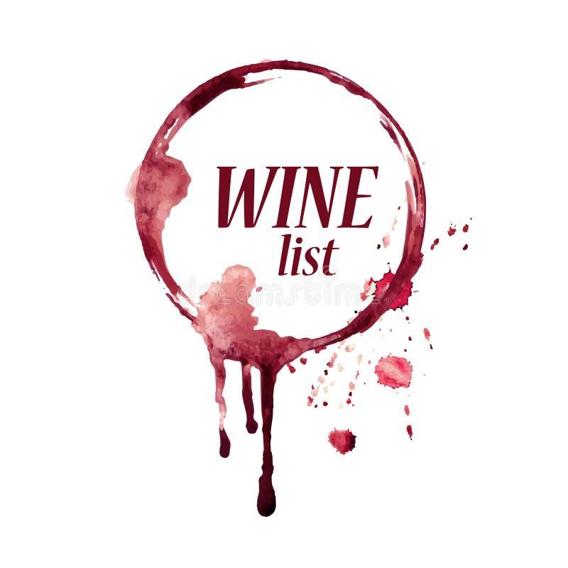 Emblema de la acuarela con la mancha del vino ilustración del vector