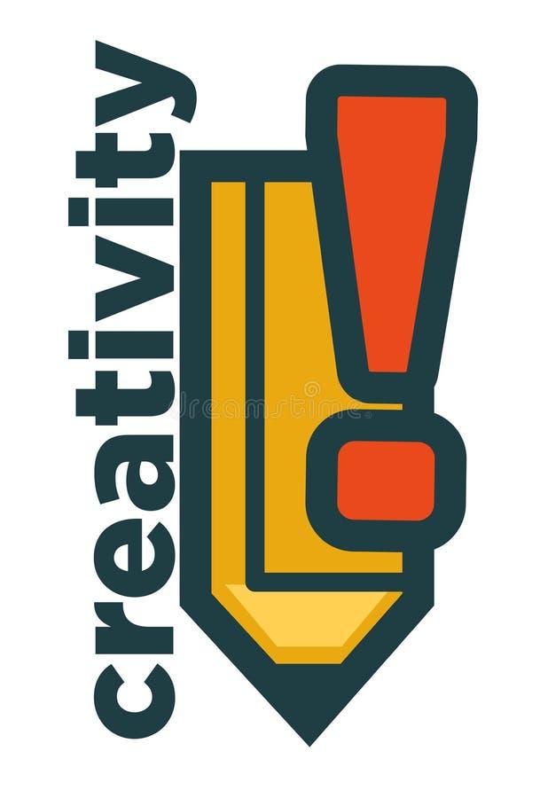 Emblema de la creatividad con la marca grande del lápiz y del exclemation ilustración del vector